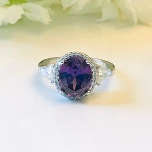 Oval Amethyst CZ Sterling Silver Ring
